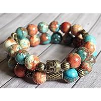 Armband multi Reihen Boho Gipsy weiße Jade getönt braun, orange und blau