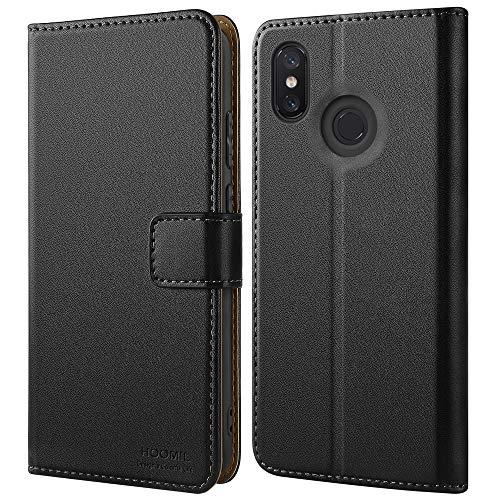 HOOMIL Handyhülle für Xiaomi Mi 8 Hülle, Premium Leder Flip Schutzhülle für Xiaomi Mi 8 Tasche, Schwarz