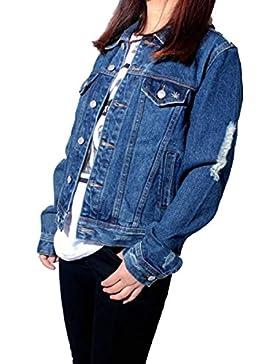 La Signora Della Moda Ricamato Giacca Di Jeans A Maniche Lunghe Multi-formato