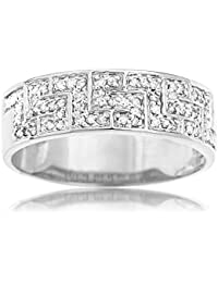 Ornami Glamour 9ct White Gold Diamond Greek Key Band Ring