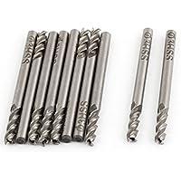 10PCS Helical Groove 4Flute 3mm Cutting Dia HSS Cutter Schaftfräser