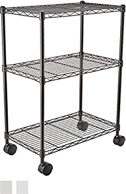 AmazonBasics 5-Shelf Shelving Unit on Wheels - Chrome PARENT