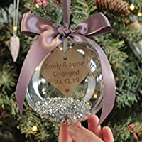 Personalised Engagement Christmas Decoration Bauble