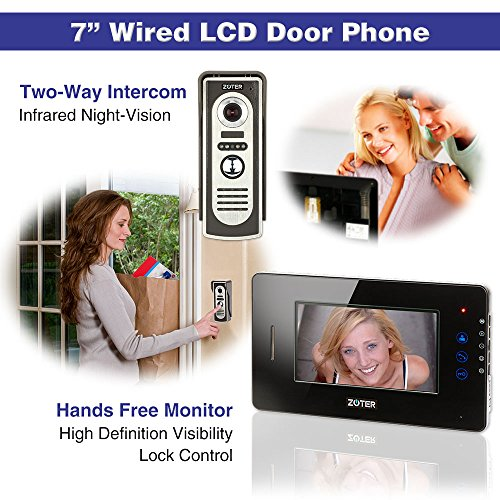 "Generic 7"" inch Touch Key Color LCD Video Door Phone Doorbell Home Entry Intercom System 1 Monitor 1 Metal Camera Night Vision 705 (Black)"
