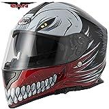 Hollow Nouveau ACU et passe-montagne; nouveau style de casque intégral VCAN V127 pour moto ou scooter avec motif graphique rouge.