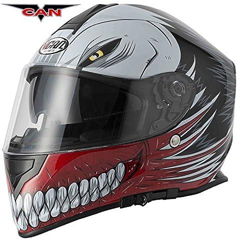 NEW style vcan V127creux Rouge Graphic Casque de moto moto
