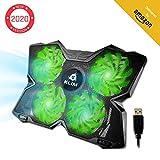KLIMTM Wind - Refroidisseur Ordinateur Portable + Le Plus Puissant + Refroidissement Ultra Rapide + 4 Ventilateurs Silencieux + Refroidisseur PC Portable PS4 Xbox - Version 2019 - Vert