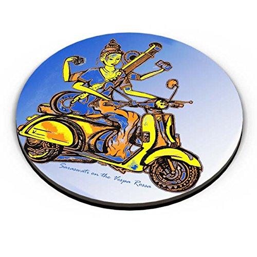 PosterGuy Goddess Saraswati On Vespa Rossa Psychedelic, Indian Gods, Mythology, Celestial, Saraswati, Vespa, Biking, Fantasy, Doodle, Pen On Paper, Illustration, Quirky, Trippy, Psyd Effects, Racing, Riders, Ride Fridge Magnet  available at amazon for Rs.199
