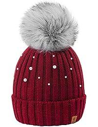 4sold Beanie Hat Mujer Sombreros con Bola Pequeña Lana De Invierno para  Mujer Gorro de Punto 2a1f1bb9528a