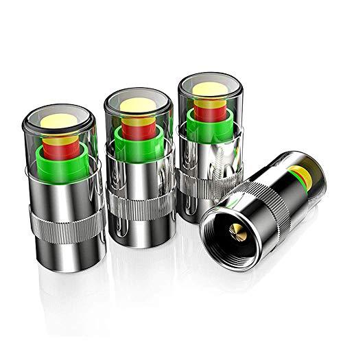 Muchkey Auto Ventilkappen Abdeckung Autoreifen Drucküberwachungsventil Kappe mit Sensoranzeige 3 Farben Augenwarnung Für C30 S40 S60 XC60