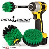 Drillbrush Cucina di pulizia Spazzole Per Kit trapano con Long Reach attaccamento. Tre pezzi Medium Power Scrub Brush Set medio-verde
