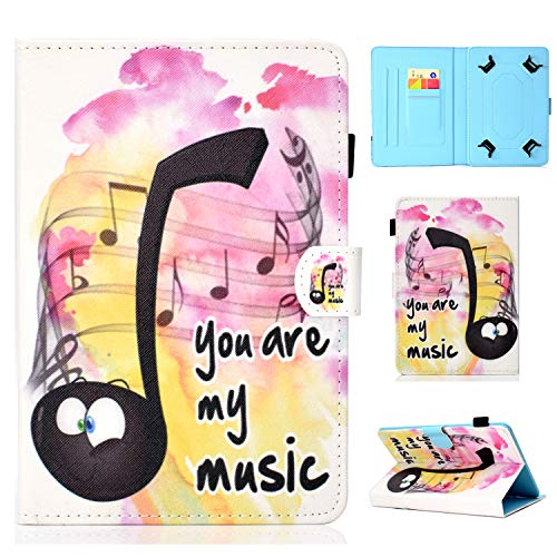 YKTO Tablet Hülle für Universal 10 Zoll Anime Colorful Painted Case Schale für Alle 9.5-10.5 Zoll Tablet iPad Air 2/1, Samsung Galaxy Tab A/3/4/S3/E, Lenovo, Huawei MediaPad T3 10 Musik
