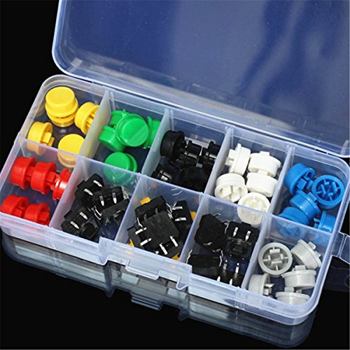 Amazon.co.uk - 50pcs Tactile Push Button Switch Momentary Tact & Cap Assorted Kit