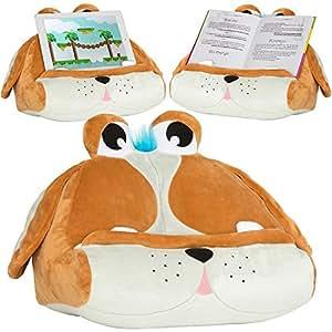 support tablette et ipad pour enfant peluche chien porte livre coussin oriller doux. Black Bedroom Furniture Sets. Home Design Ideas