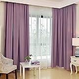 T-CDSH Verdunkelungsvorhänge Wohnzimmer Schlafzimmer schwimmenden Boden Fenster verdickt Sonnenschutz Vorhangstoff, Breite 200 hoch 270 (Haken) / jedes Stück, hochpräzise lila Tuch