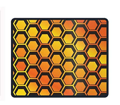 Mauspad mit geometrischem Elefantenmotiv, vernähte Kanten, Rutschfest, Gummi-Mauspad 11.8/9.85/0.12, Honeycomb Pattern, Einheitsgröße - Honeycomb Seide
