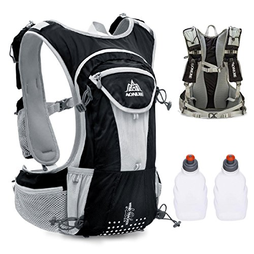 triwonder mochila profesional al aire libre mochilas Trail Marathoner Running race chaleco de hidratación sistema de hidratación mochila - OS1512BL, L, Black- with 2 Water Bottles
