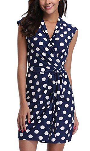 MISS MOLY Sommerkleid Damen Wickelkleid Gepunktetes Kleider Polka Dots Blau X-Small