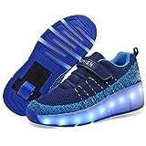 MNVOA Unisex Kinder Mode LED Schuhe mit Rollen Drucktaste Einstellbare Skateboardschuhe Outdoor Gymnastik Turnschuhe Für Junge Mädchen,Blue,33EU