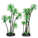 perfk Künstliche Kokospalme Kunstpflanze für Aquarium und Terrarium, 2er-Packung