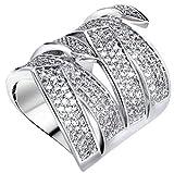 18k Vergoldet Ringe, Damen Versprechen Ringe Kreuz Streifen mit Zirkon Luxus Gr.60(19.1) Epinki