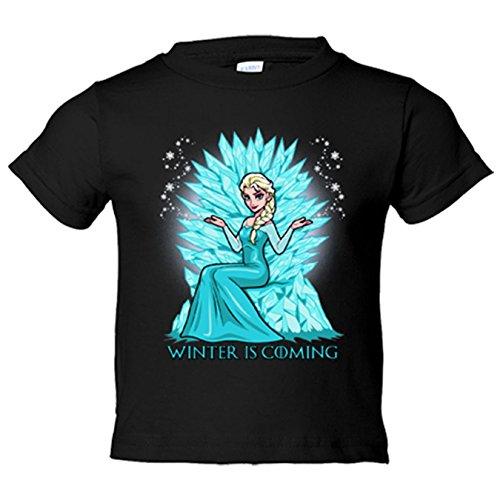 Camiseta niño Juego de Tronos Frozen Elsa en el trono Winter Is Coming - Negro, 5-6 años