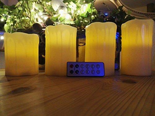 5er Set LED Kerzen mit Timer und Fernbediengung mit beweglicher Flamme - 4 batterie betriebene Kerzen Wachs Echtwachs mit Zeitschaltuhr + Fernbedienung
