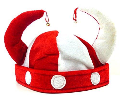 weiss Herren Damen Karneval Wickinger Helm Stoff Mütze rot Halloween Spass Mützen mit Glöckchen Wicking Hat with Bells (ROT) 2198 (Halloween-fleece-stoff)
