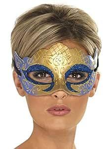 Masque venitien bleu et or a paillettes
