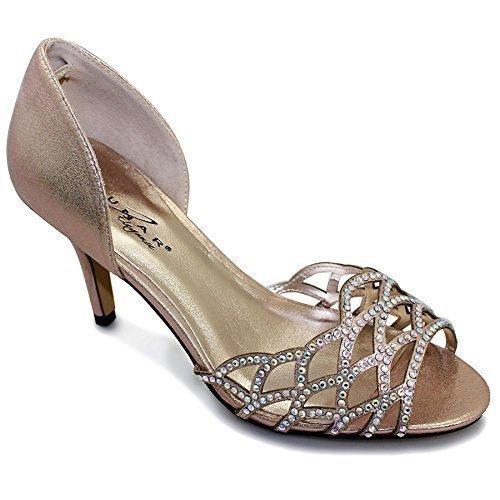 Fantasia - Scarpe donna con Strass e aperture altezza media scarpe, e custodia Champagne (Scarpe Only)