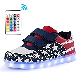 Voovix Kids Low-Top Led Light Up Shoes con Control Remoto Zapatos con Luces para Niãos y Niãas(Azul/X,EU25/CN25)