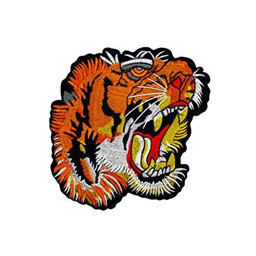 Parche bordado con cabeza de tigre para coser en la ropa, bolsa para camisa, pantalones vaqueros y motero