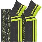 CelinaTex 4tlg Winter Bettwäsche 135x200 Microfaser Fleece Bettbezug mit 80x80 Kissenbezug Style Bettgarnitur Cosima Muster gestreift grün grau schwarz 0003842