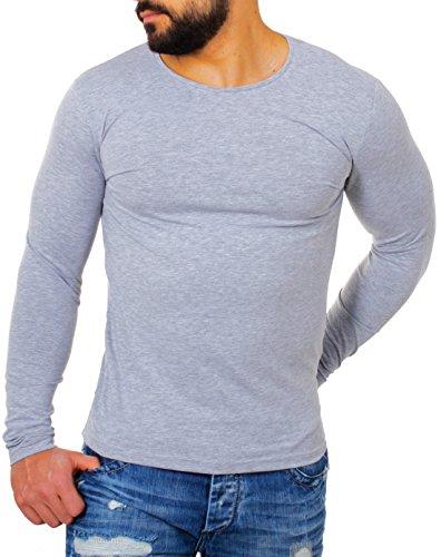 Young & Rich Herren Longsleeve Rundhals Ausschnitt langarm Shirt einfarbig slimfit mit Stretchanteilen Uni Basic round-Neck Tee, Grösse:M;Farbe:Grau (Baumwolle Langarm Tee Stretch)