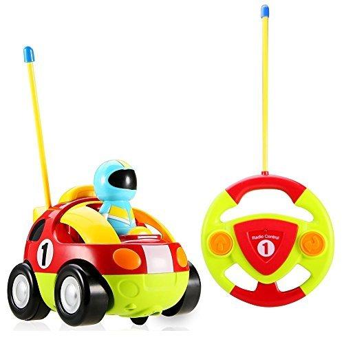 Yojoloin RC Cartoon Racer Auto Fernbedienung Polizei Spielzeug mit Musical & Licht Geburtstagsgeschenk für Kinder Kleinkinder (Rot)