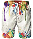 TUONROAD Costume Uomo Mare Fantasia Tie Dye Stampato 3D Bermuda da Bagno Colorati Pantaloncini Asciugatura Rapida Calzoncini Elasticizzato Costumi Surf Estivi Hawaiano Spiaggia Casual Short - L