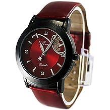 Frauenuhr Damenuhr Schmetterling Kunstlederuhr Quarzuhr Analoguhr Kleid Armbanduhr (Rot)