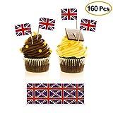 FEPITO 100 Stück britische Flagge Toothpicks Flag Party Cupcake Toppers und 60 Stück britische Flagge Aufkleber für Nationalfeiertag, Geburtstagsfeier, Hochzeit, Graduierung, Baby-Dusche