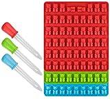 Chyir Lot de 3 moules à glaçons et bonbons en silicone, 53 emplacements avec compte-gouttes offert, 100 % approuvé par la FDA, sans BPA (rouge, vert, bleu)