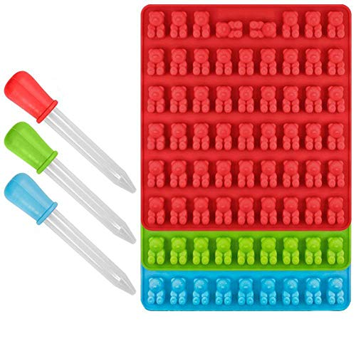 CHYIR-Süßigkeiten-Silikonformen und Eiswürfelschalen, 3 Stück, Gummibär-Formen, 53 Hohlräume mit Bonus-Pinzette, 100 % FDA-genehmigt, BPA-frei (rot, grün, blau).