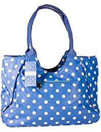 Dotty Designer Matt Finish Oilcloth Large Shopping Bag in Blue With White Dots