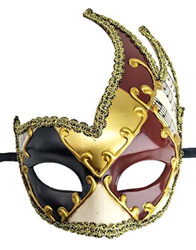 Coolwife Herren Maske Vintage venezianisch kariert Musik Party Fasching Gras Maske - - Einheitsgröße (Erwachsene Chucky-maske Für)