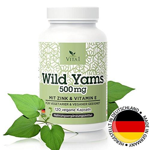 Wild Yams 120 Kapseln • hochdosiert 500mg • Wurzelextrakt aus Wild Yams mit Vitamin E und Zink • vegan • Hergestellt in Deutschland