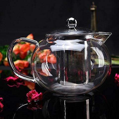 Aliciashouse 800ml Haute verre borosilicate Filtrage Teapot inoxydable Tea Filter
