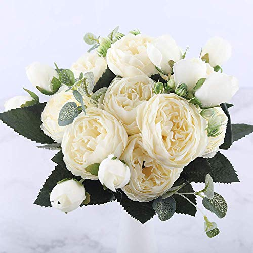 HUIDE Artificial Peony Silk Flowers Bouquet Glorious Moral for Home Office Parties and Wedding - Silk Bouquet Lila Flower