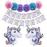 AMZTM Unicornio Feliz Cumpleaños Suministros para La Fiesta -Happy Birthday Decoraciones De Fiesta
