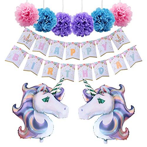 Partyzubehör Alles Gute zum Geburtstag Party Dekorationen für Mädchen Niedliches Einhorn Happy Birthday Banner Papier Pompons Einhorn Folienballons Von AMZTM (Einhorn Happy Birthday Banner)