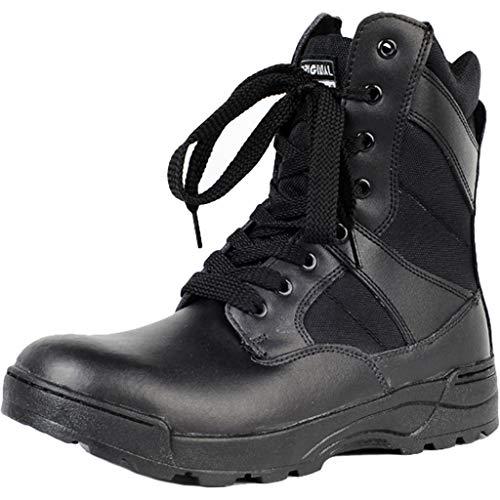 HerrenLeather Combat Army Boots Ultraleichte militärische Taktische Arbeitsstiefel mit Schnürung Atmungsaktive Outdoor-Stiefeletten Seitlicher Reißverschluss,Black- 28CM=EU44.5=UK10