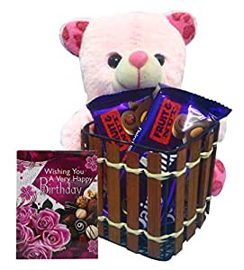Saugat Traders Birthday Gift For Girls, Kids | Soft Toy Teddy Bear Pen Stand 16 cm, Small Birthday Greeting Card & Chocolate