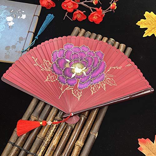 Yowinlo Faltfächer Hand Fächer Alle Bambus Fan Sommer Geschenk Fan Weiblich Cheongsam Fan Mini Pfingstrose, Rot